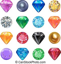 Colored gems game interface set - Set of colored gems...