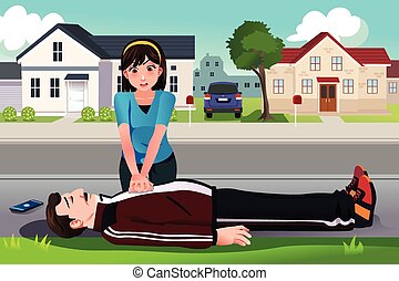 Teenager giving a CPR to a middle aged man - A vector...