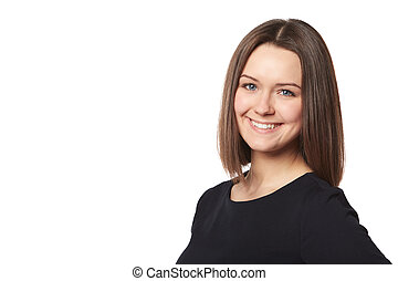 Young smiling happy woman portrait on white.
