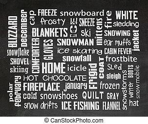 winter word art on chalkboard - Winter word art on black...
