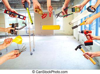 construcción, herramientas, Manos
