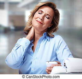 Business woman having a neck pain