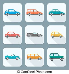vector colored flat design body types cars classification...
