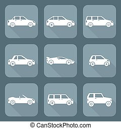 vector white flat design various body types of cars...