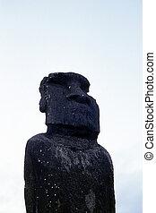 Moai- Easter Island, Chile - Solitary Moai at Ahu Tautira-...