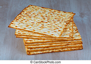Matzah on wooden table - Closeup of Matzah on wooden table...
