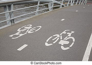 Bike Lane in Amsterdam, Holland, Netherlands