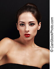 Sexy bright makeup female model with red lipstick. Closeup portrait
