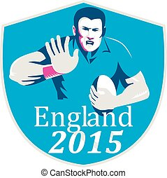 Rugby Player Fending England 2015 Shield - Illustration of...