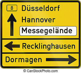 Direction Sign Duesseldorf - German direction sign showing...