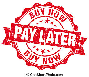 buy now pay later red vintage isolated seal