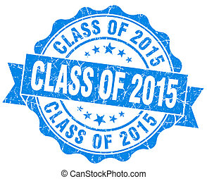 class of 2015 blue vintage isolated seal