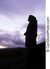 Moai- Easter Island, Chile - Moai head at the volcanic...