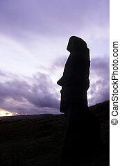 Moai- Easter Island, Chile - Moai head at the volcanic...