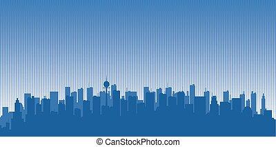 Original contour of the big city on a blue background
