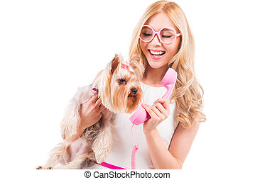 Say hello Beautiful young blond hair woman carrying...