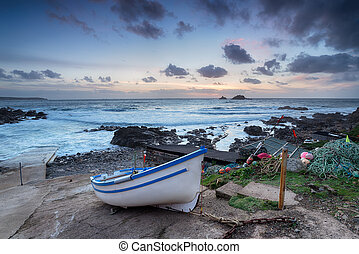 Fishing Boat on Cape Cornwall - Fishing boat on the beach at...