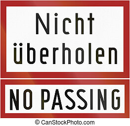 No Passing - German traffic sign additional panel from 1953:...