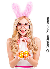 Easter time Beautiful young blond hair woman with rabbit...