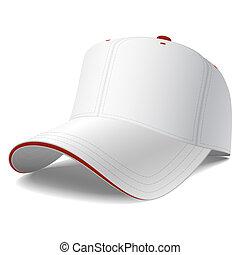blanco, beisball, gorra