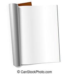 em branco, página, revista