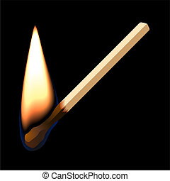 Burning match on black background - Vector illustration of a...