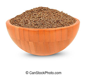 cumin in wooden bowl isolated on white background