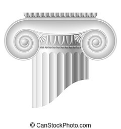 Ionic column. Vector illustration. Detailed portrayal....