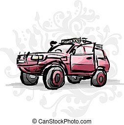 Female pink jeep, sketch for your design. Vector...