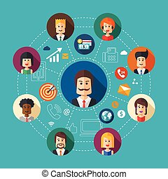 Illustration of flat design business team work composition -...
