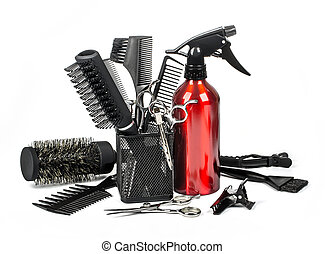 Professional hairdresser tools, isolated on white background