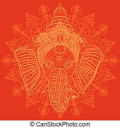 Ganesha - Indian god Ganesha on red background with pattern