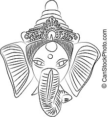 Ganesha - Hand drawn illustration of indian god - Ganesha