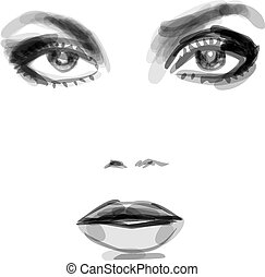 beatiful woman face - Watercolor monochrome fashion...