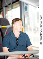 Man traveling on bus
