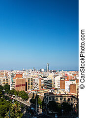 Birdview on Barcelona cityscape - View on Barcelona...