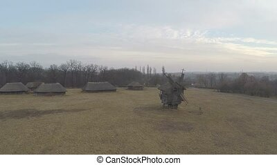 Aerial view of the old - Traditional Ukrainian village...