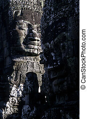 Bayon temple- Cambodia - Gigantic smiling face statues at...