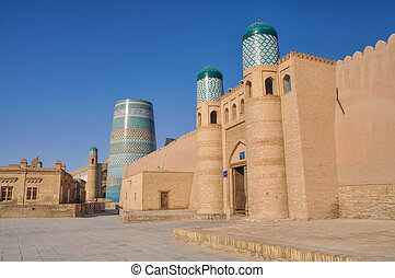 Gate in Khiva - Scenic view of gate and surrounding walls in...