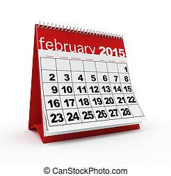 2 月, 2015, カレンダー,