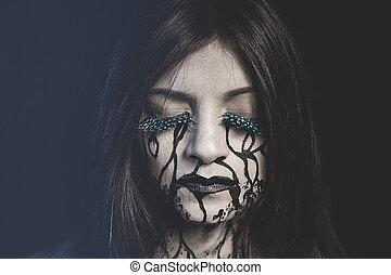 triste, mujer, con, pintado, lágrimas, en, el, cara,