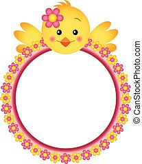 Chick with Flower Frame