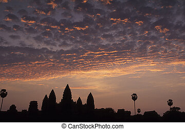 Angkor Wat- Angkor, Cambodia - Angkor Wat silhouetted at...