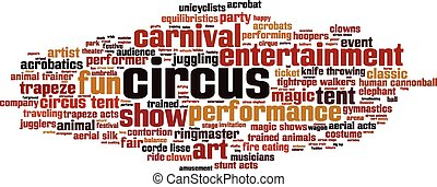 Circus word cloud concept Vector illustration