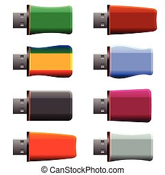 USB memory sticks - colorful illustration with USB memory...