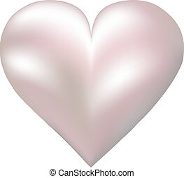 pearl shaped heart - Pink pearl shaped heart isolated on...