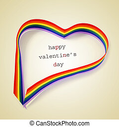 rainbow heart and text happy valentines day, with a retro...