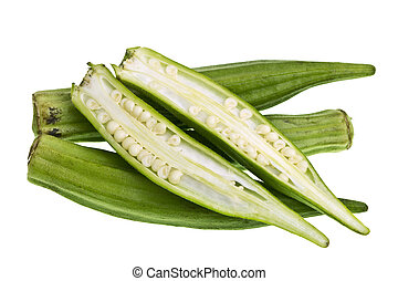 Okra - Fresh okra Abelmoschus esculentus isolated on a white...