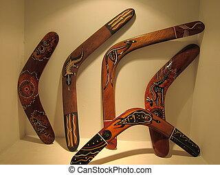 Boomerang - Aboriginal  art  Boomerang display on wall