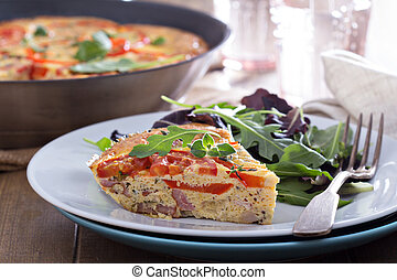 Frittata with vegetables and ham - Frittata with tomatoes,...